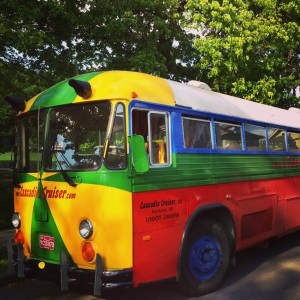 The Cascadia Cruiser party and event bus parked at Col Summers Park in Portland Oregon